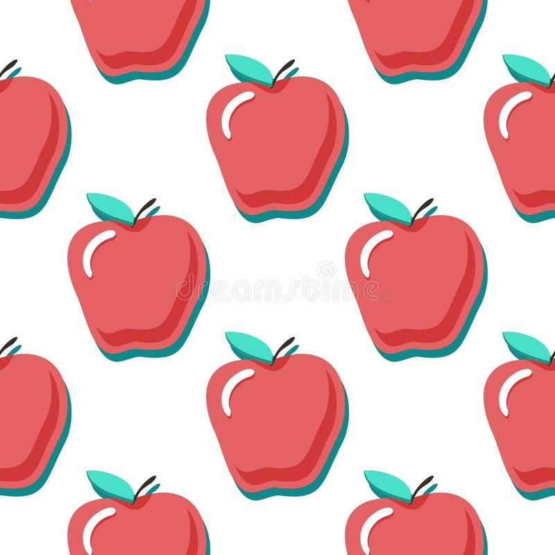 Apples vector seamless pattern. Seamless pattern with red apples on blue background. Fruit background. Apple pattern. royalty free illustration