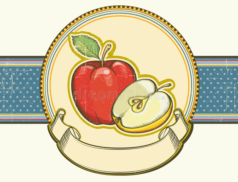 Vintage Apples Label On Old Paper Background Textu Royalty Free Stock Photo