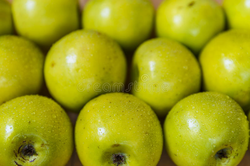 Apples on wooden boards stock photos