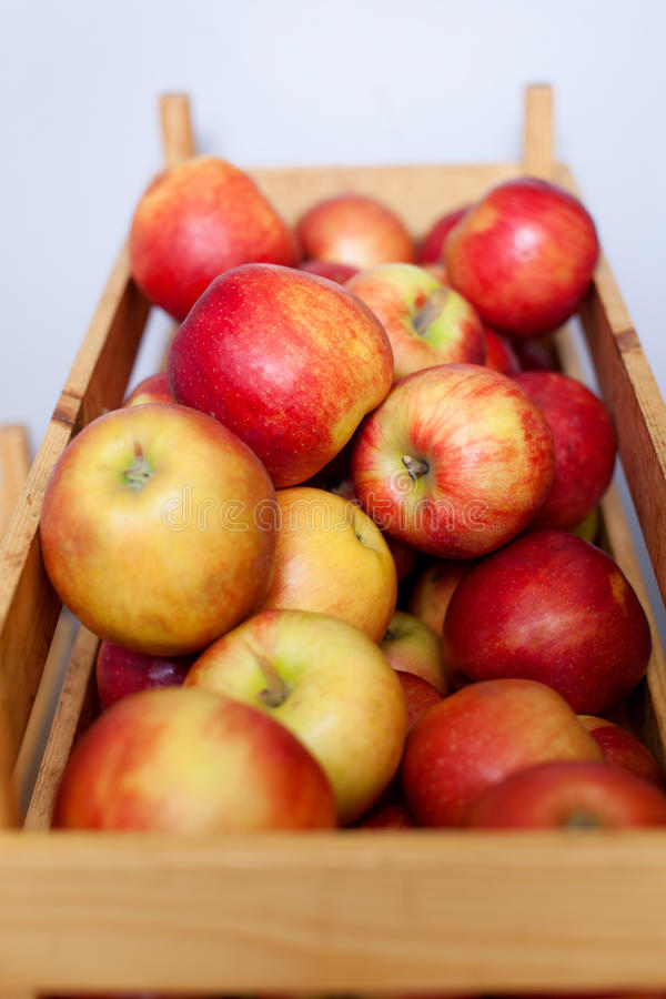 Apples in wooden box royalty free stock photo