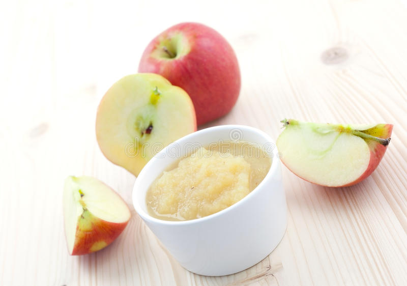 Applesauce in bowl royalty free stock images