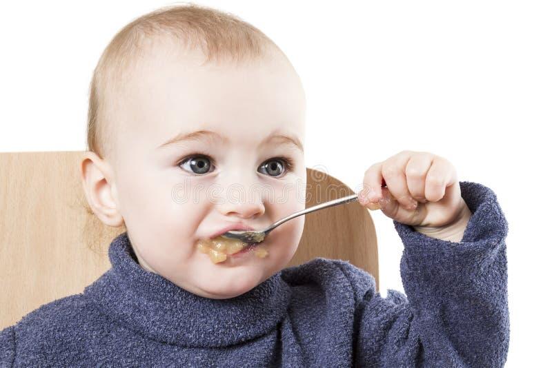 applesauce dziecka łasowanie fotografia royalty free