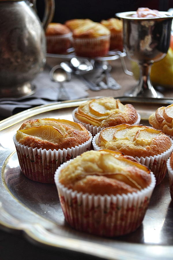 Applesauce and Pear Vanilla Muffins stock image