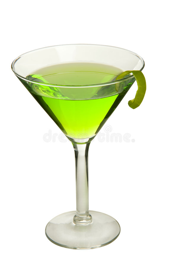 Appletini on white, with apple peel twist. With clipping path. stock images