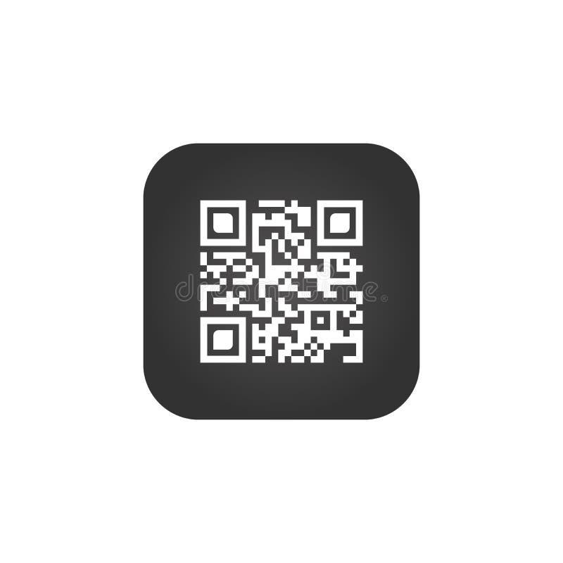 Appli créatif de signe de code de Qr Symbole de code de balayage Bouton carré rond Illustration de vecteur d'isolement sur le fon illustration de vecteur