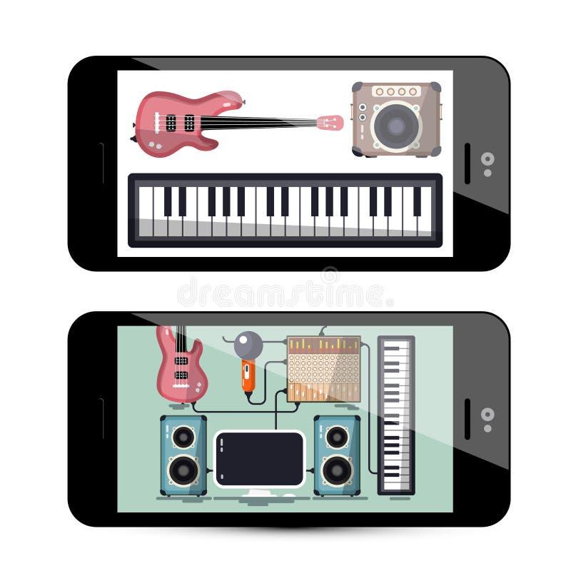 Appli de bruit et de musique avec le clavier, guitare illustration stock