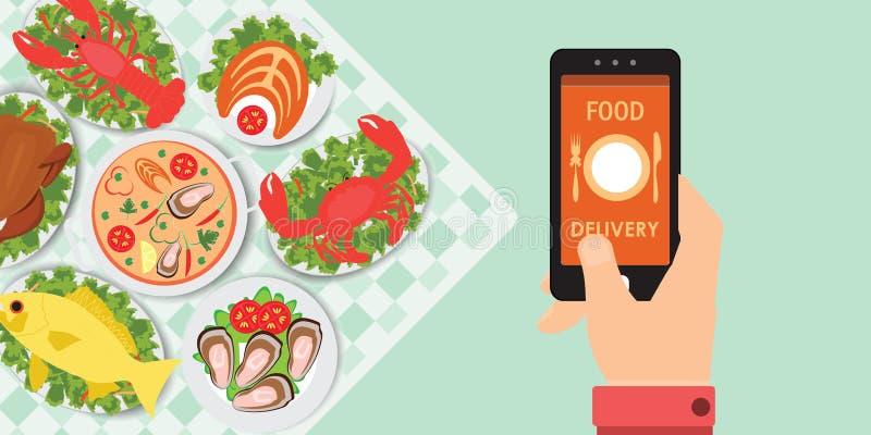 Appli de la livraison de nourriture sur un smartphone avec des nourritures illustration de vecteur
