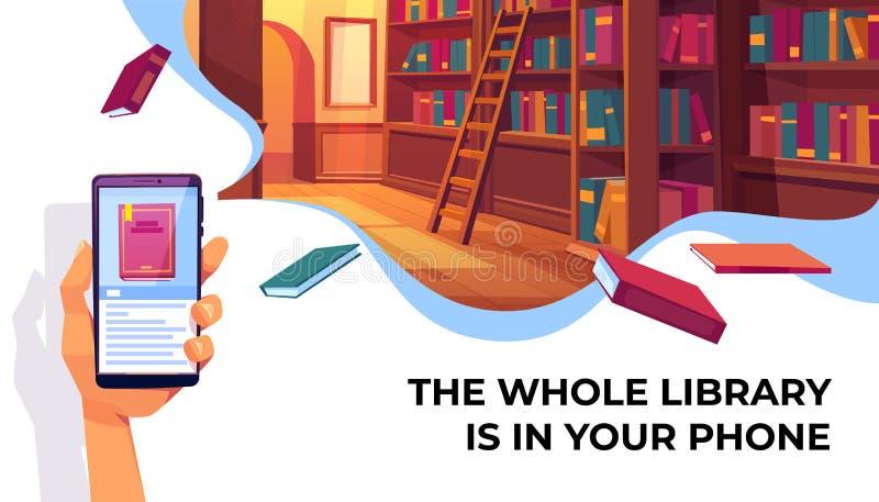 Appli en ligne de bibliothèque pour lire, livres électroniques illustration de vecteur