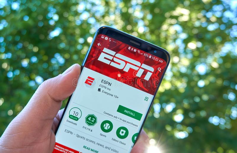 Appli mobile d'ESPN sur Samsung s8 images stock