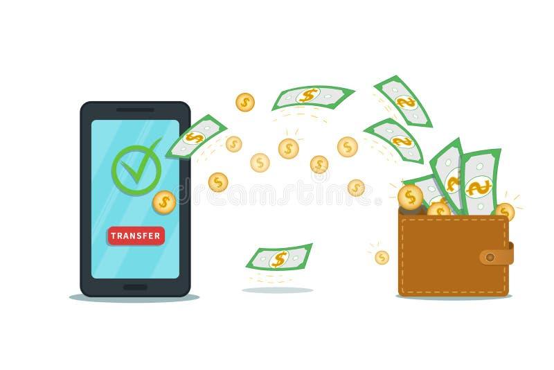 Appli mobile de paiement en ligne avec le portefeuille numérique Smartphone plat avec le bouton de coche et de transfert sur l'éc illustration de vecteur