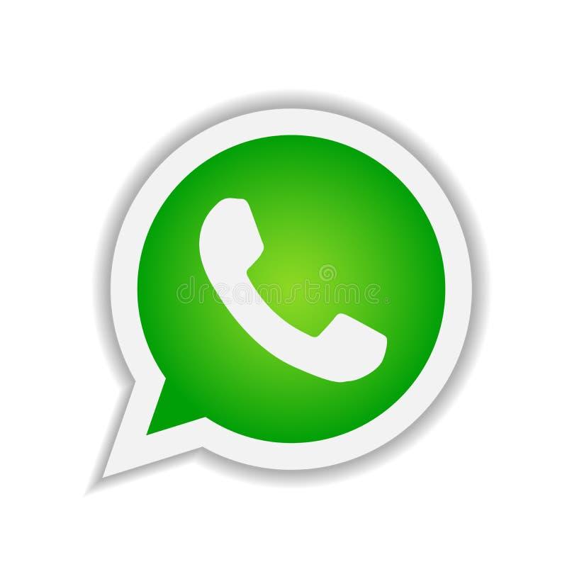 Appli mobile de vecteur de signe d'élément de logo d'icône de WhatsApp sur le fond blanc illustration stock