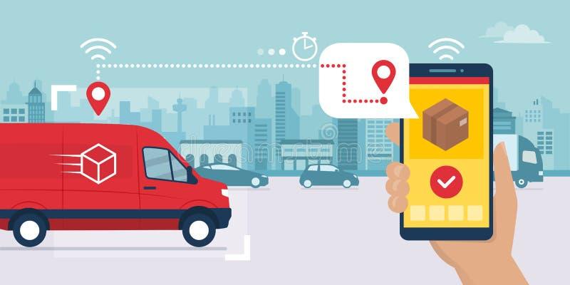 Appli rapide de service de distribution sur le smartphone illustration stock