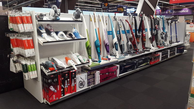Appliance store. Sales of vacuum cleaners royalty free stock photos