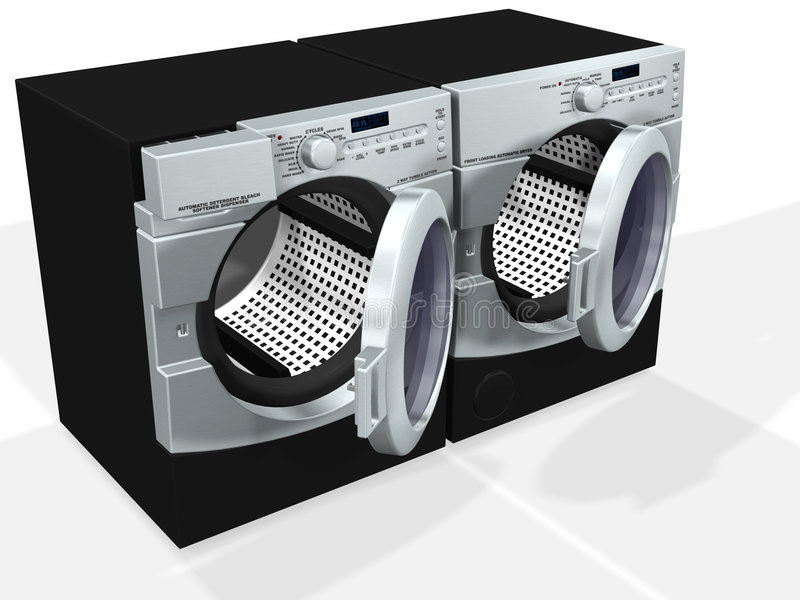 Appliances. A generic model of a modern washer / dryer pair - rendered in 3d