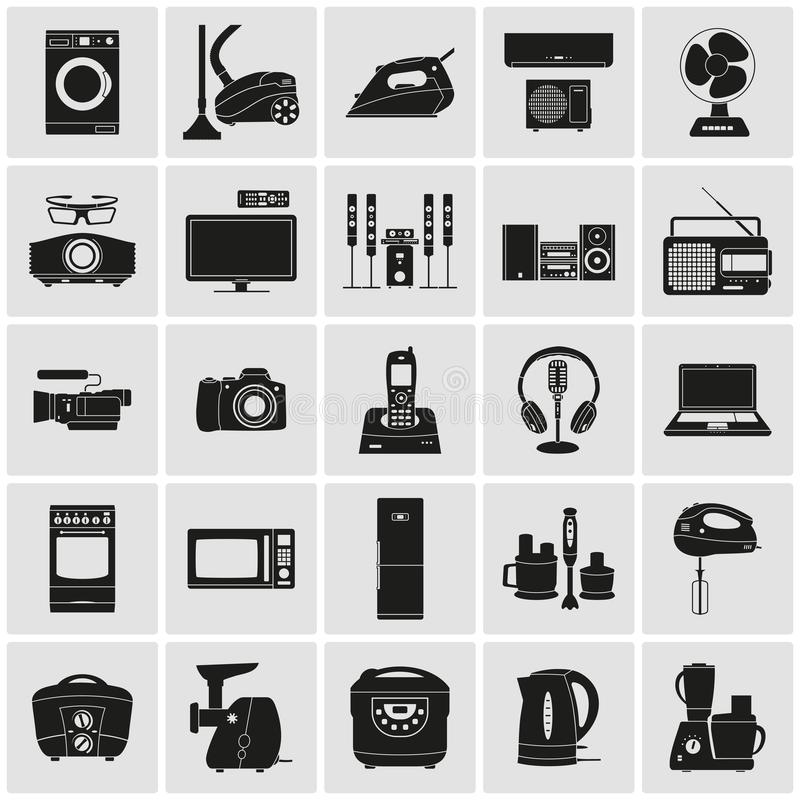 Appliances and electronics detailed icons. Electronic Devices and Home Appliances detailed Icons royalty free illustration
