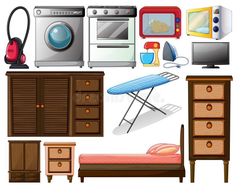 Appliances. Illustration of many types of appliances stock illustration