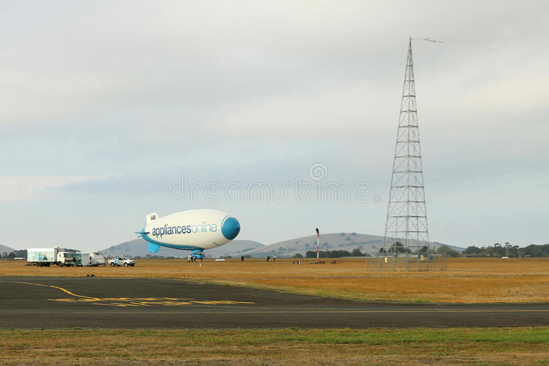 The Appliances Online Legend blimp is 39 metres long and 11 metres wide. It never gets deflated and has a 13-strong crew stock photo