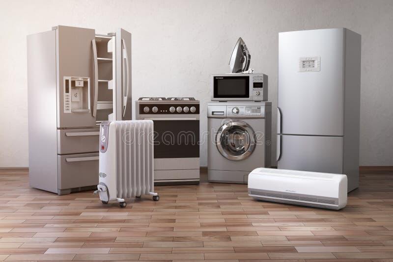 Appliancess domestici Insieme delle tecniche della cucina della famiglia nella nuova a royalty illustrazione gratis