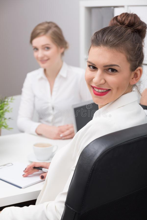 Applicant and interviewer stock photos