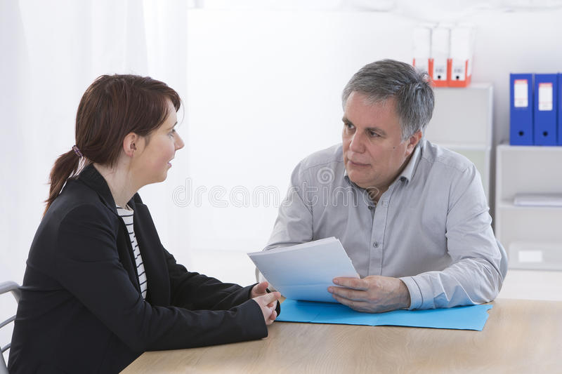 Applicant and recruiter at interview royalty free stock images