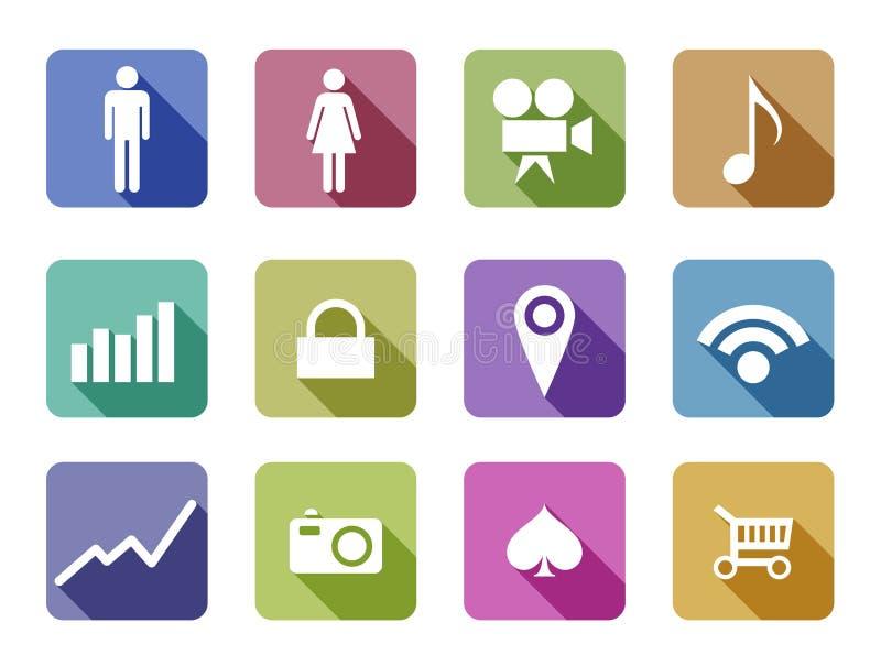 Applicatio mobile réglé de conception d'Apps d'icône plate de vecteur illustration libre de droits