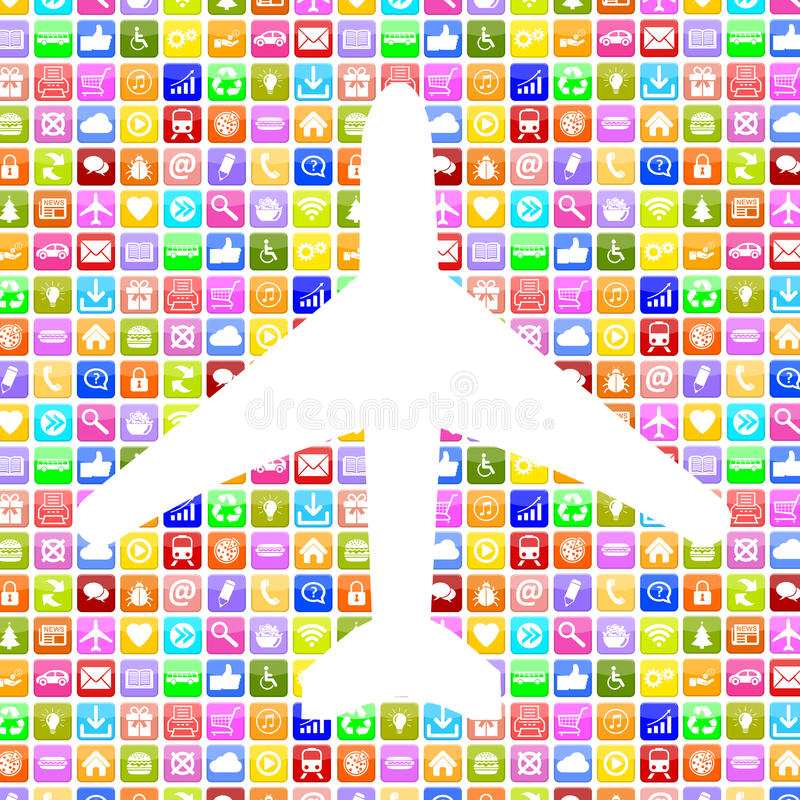 Application Apps App airplane booking flight and holidays online royalty free illustration