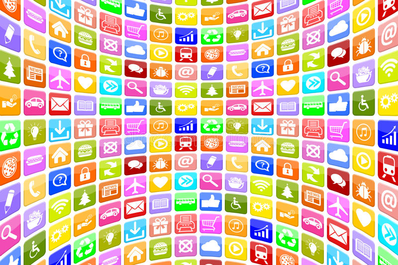 Application Apps App Icon Icons for mobile or smart phone background royalty free illustration