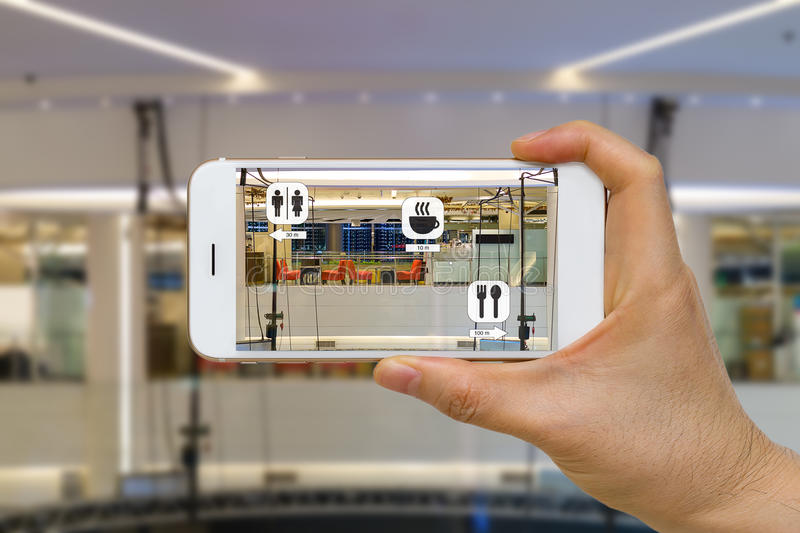Application of Augmented Reality or AR for Navigation Concept in. Augmented reality or AR for navigation concept application in mall looking for coffee shop
