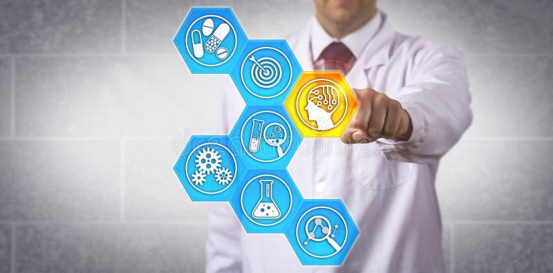 Application conduite par AI d'Activating de scientifique de Pharma images stock