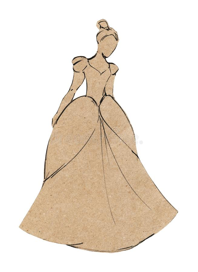 Application of craft paper. Sketch the silhouette of beautiful girls in a ball gown. Isolated on white background.  royalty free illustration
