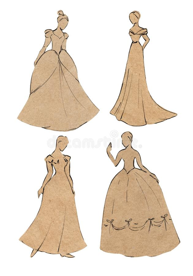 Application of craft paper. Sketch the silhouette of beautiful girls in a ball gown. Isolated on white background.  vector illustration