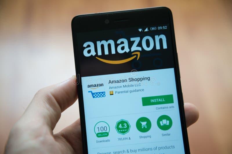 Application d'Amazone dans le magasin de jeu de Google image stock