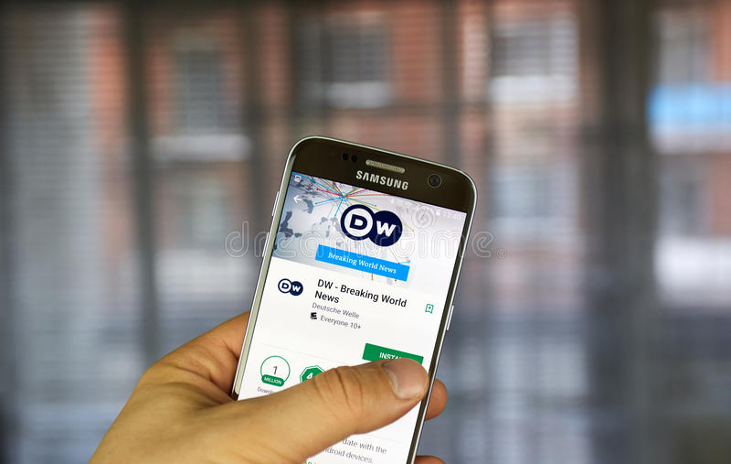 Application d'androïde de Deutsche Welle images libres de droits