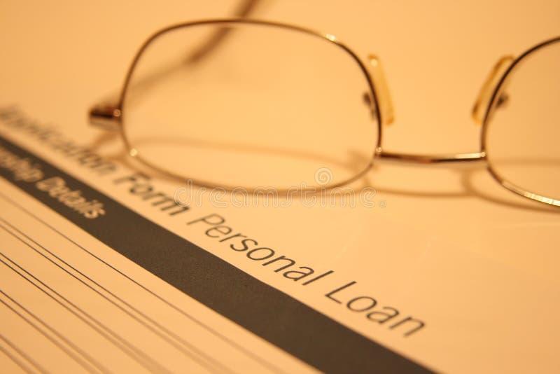 Application d'emprunt personnel image stock
