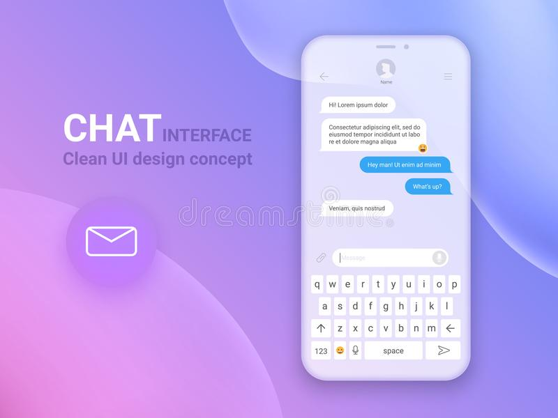 Application d'interface de causerie avec la fenêtre de dialogue Nettoyez le concept de construction mobile d'UI Messager de Sms I illustration stock