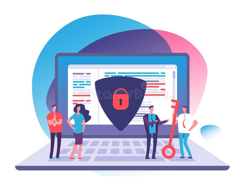 Application data protection. Exposed access code security, website and internet safety and online privacy vector concept. Security and protection laptop data stock illustration