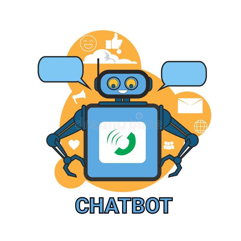 Application de Bot de causerie de Digital de technologie de robot de soutien de concept d'icône de Chatbot illustration stock