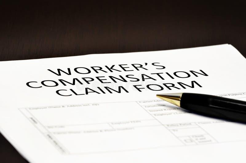 Application de formulaire de réclamation de compensation du ` s de travailleur photos libres de droits