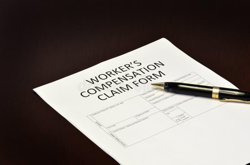 Application de formulaire de réclamation de compensation du ` s de travailleur photographie stock