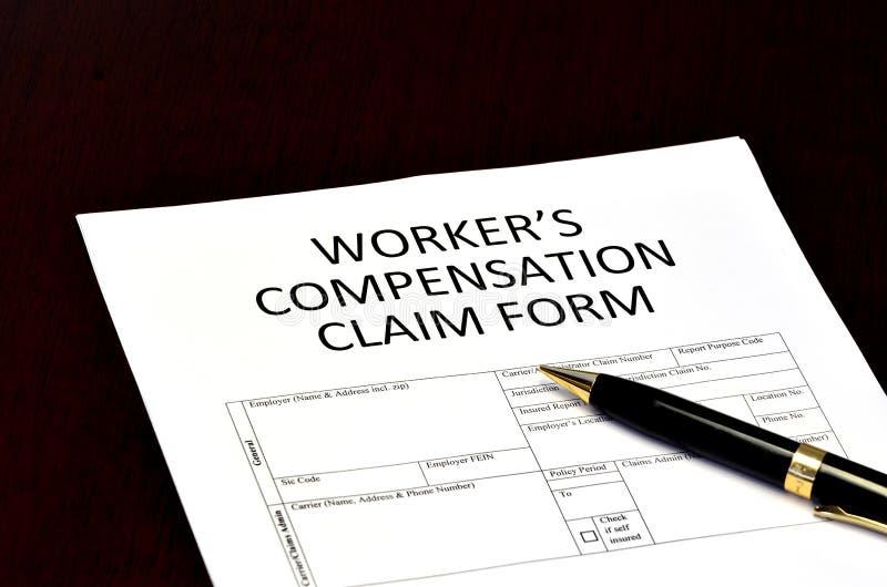 Application de formulaire de réclamation de compensation du ` s de travailleur image libre de droits