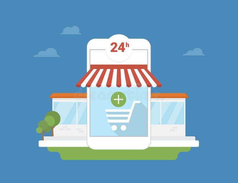 Application de mobile de commerce électronique illustration libre de droits