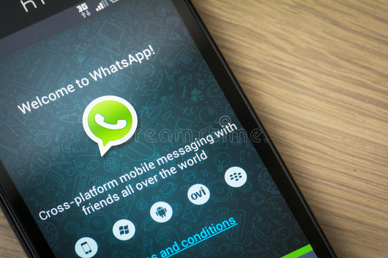 Application de mobile de WhatsApp photos libres de droits