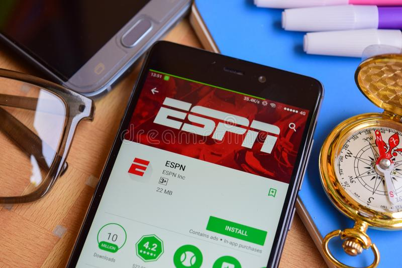 Application de réalisateur d'ESPN sur l'écran de Smartphone photos libres de droits