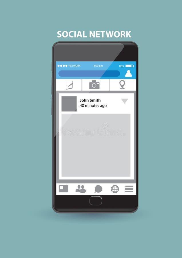 Application de service réseau sociale basée sur le WEB au téléphone intelligent illustration libre de droits