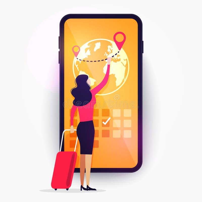 Application de service de réservation en ligne Vector Illustration Femme avec bagage voyage sur le smartphone illustration libre de droits