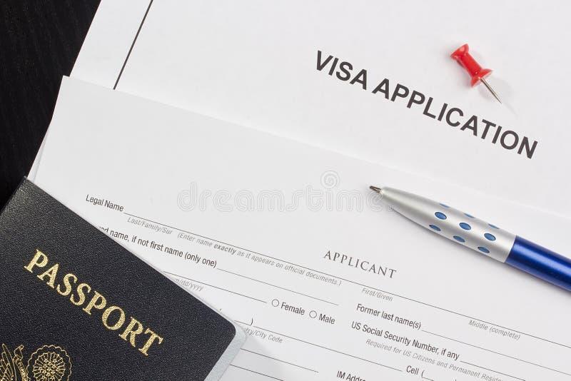 Application de visa photos stock