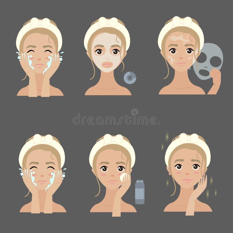 Application des étapes faciales de masque hydrater et acné illustration stock