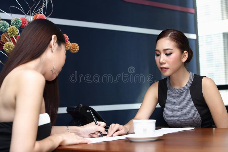 Application document for Job interview, in modern offic room stock photos
