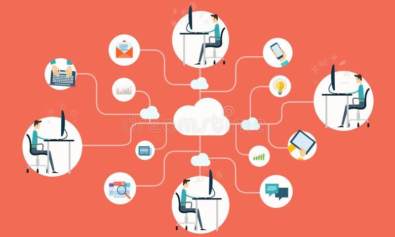 Application en ligne fonctionnante de réseau d'Internet d'affaires de personnes illustration libre de droits