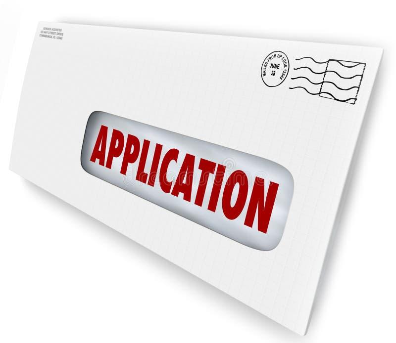 Application Envelope Document Mailing Sending in Forms Apply for. Application word on envelope in mail for sending in forms or documents required for applying vector illustration
